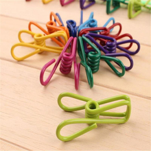 10 Pcs Random Color Metal Multifunctional Portable Clamp Towel Socks Clothes Laundry Hangers Strong Grip Washing Line Pegs Clips