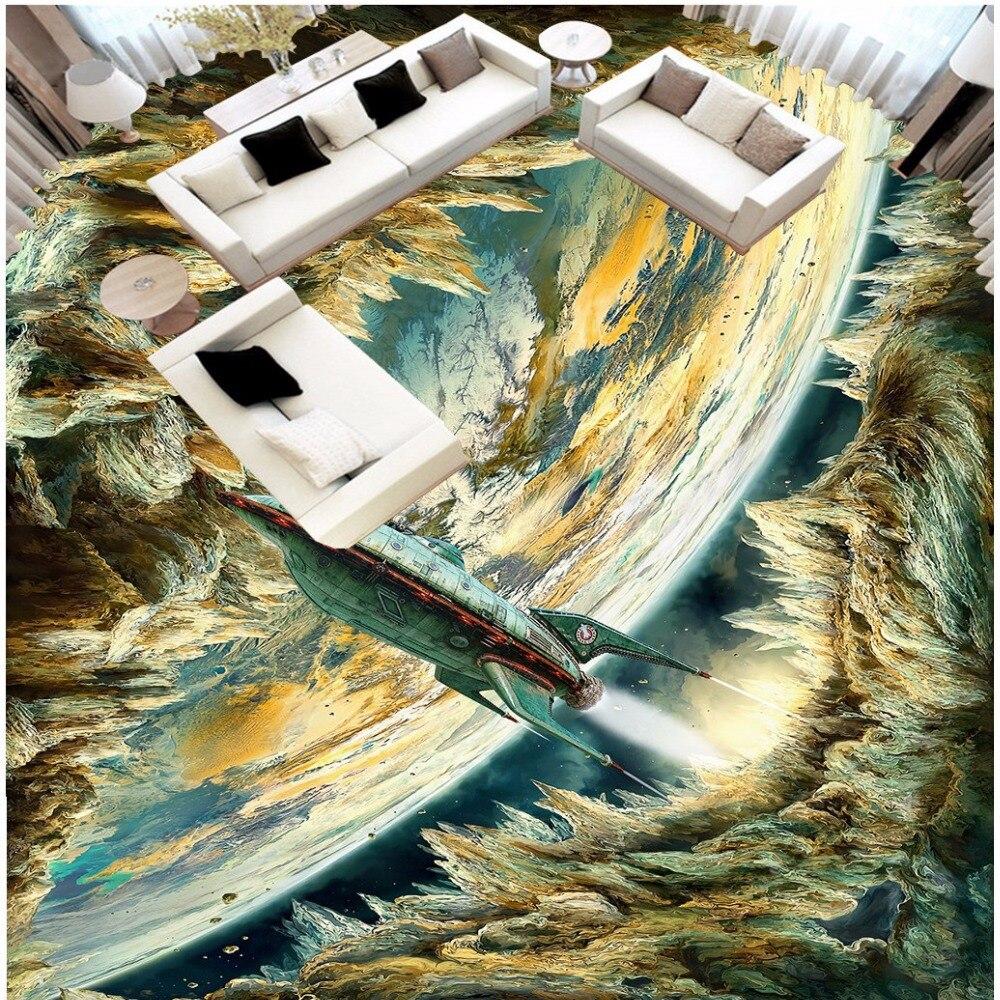 Free Shipping 3D custom floor wallpaper mural waterproof non-slip wallpaper bedroom bathroom floor painting sticker<br>