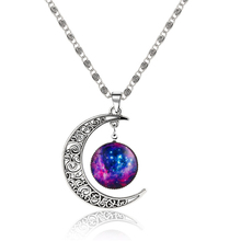 SHUANGR 2016 Brand Jewelry Fashion Moon Statement Necklace Glass Galaxy Lovely Collares Necklace&Pendants Fine Jewerly