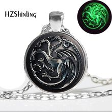 Glow in the dark Game Of Thrones Necklace, House Targaryen Song Of Ice And Fire Dragon Necklace Art photo Glowing Jewelry(China)