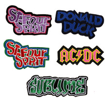PUNK ROCK Badge Patches Letter Words Embroidered iron on Appliques Clothing DIY Accessories for Jean Jacket Fabric Patch(China)
