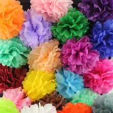 Wholesale 10inch 25cm Handmade pom poms Wedding Paper Flowers Ball Pom Poms For Wedding & Home Baby Shower Decoration,10pcs/lot(China)