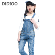 Denim Overalls High Quality Spring Children Clothing 2017 Girls Denim Jumpsuit Fashion Teenage Autumn Kids Pants for Girls 2T-14(China)