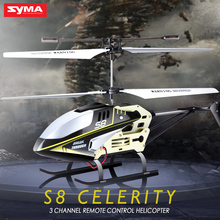 SYMA S8 3CH RC Helicopter with 6Axis Alloy Body Remote Control Mini Indoor Drone LED Flashing Aluminum Aircraft