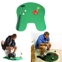 Funny Toilet Bathroom Mini Golf Mat Set Potty Putter Putting Game Men's Toy Novelty Gift(China)