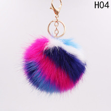 Buy Cute Rabbit Fur Color Stripe Ball Keychain Chain Cartoon Wowen Keychain Keyring Car Phone Bag Charm for $1.02 in AliExpress store
