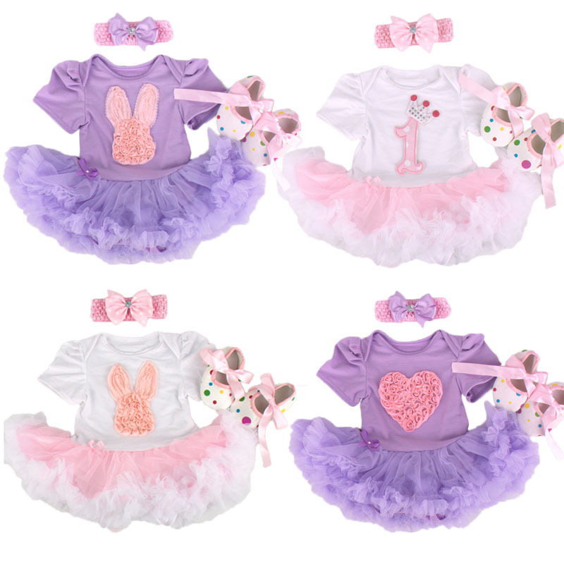 New Baby Girl Clothing Sets Infant Bunny Lace Tutu Romper Dress/Jumpersuit+Headband+Shoes 3pcs Set Bebe First Birthday Costumes<br><br>Aliexpress