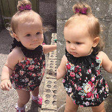 Kids Clothes 2017 Summer Newborn Baby Girls Sleeveless Black Floral Baby Girl Romper Lace Outfits Sunsuit One-Pieces Cute(China)