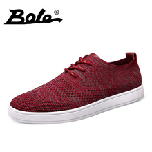 BOLE Fashion Fly Weave Breathable Men Causal Shoes New Design Superstar Lace Up Comfort Men Shoes Leisure Walking Shoes Men Flat(China)