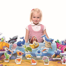 Puzzles for children's educational toys can be painted graffiti 3D puzzle toys kids cartoon woodne toys Jigsaw puzzles CU141(China)