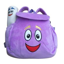 IGBBLOVE Dora Explorer Soft Plush Backpack Rescue Bag with Map, Purple pink color for Christmas gift(China)
