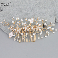 Miallo Handmade Simulated Pearl Bridal Comb Headpieces Plant Shape Shiny Crystal Wedding Hair Jewelry Accessories(China)
