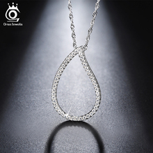 ORSA JEWELS Fashion Silver Color Heart Pendant Necklace Long Chain Necklaces with AAA Austrian Cubic Zirconia for Women ON129(China)