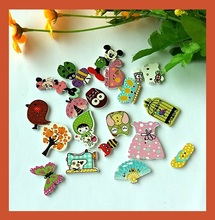 30pcs(many styles mixed) Mixed cartoon buttons and made diy accessories wooden Decoration buttons Scrapbooking products M-4(China)