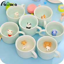 250ml Cute Celadon Animal Bottom Ceramic Cofee Cup 3D Panda Three-dimensional Mint Green Milk Tea Cup Mug Personalized Gifts