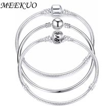 Buy MEEKUO 5PCS/LOT 2018 Hot Silver Love Snake Chain Fit pandora Charm Bracelets & Bangles Jewelry Gift Men Women 17-21cm for $4.08 in AliExpress store
