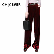 CHICEVER Autumn Velvet Wide Leg Pants Female High Waist Trouser for Women Broad Legs Palazzo Bottoms Casual Clothes Big Sizes(China)