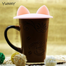 Creative Cute Cat Ears Silicone Insulation Cover Dustproof Reusable Cup Lid DIY Free Splicing Thermal Seal Cover