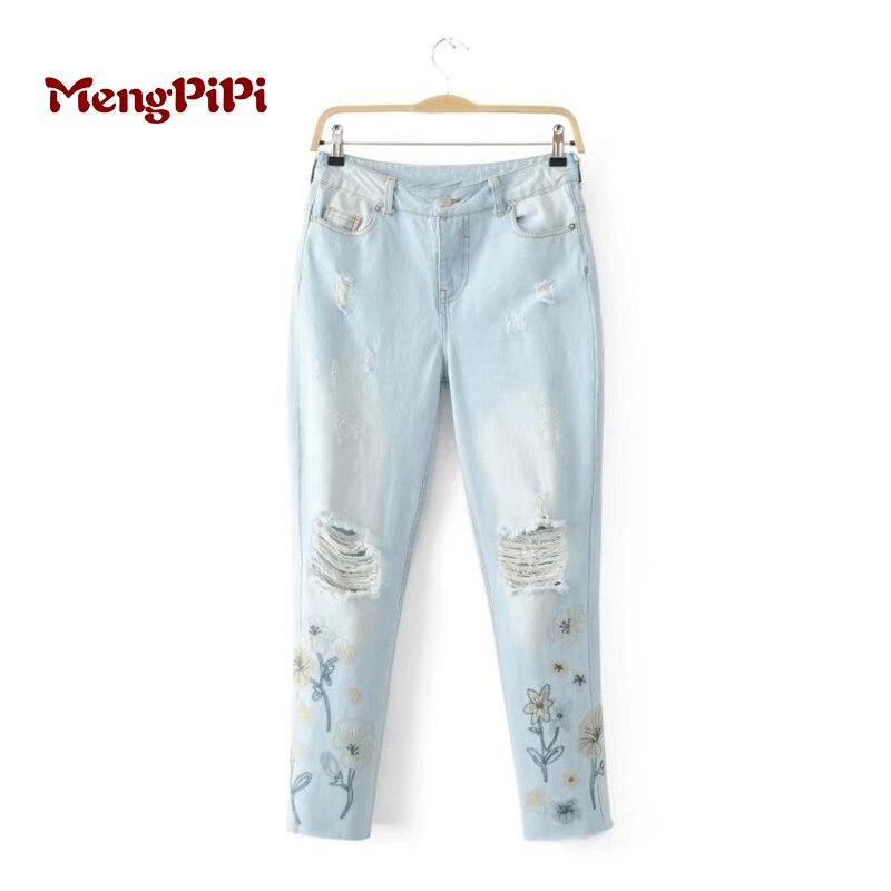 MengPiPi 2017 Fashion Women Vintage Holes Ripped Jeans Denim Blue Nine Points Trousers Female Woman Denim Women Pencil PantsÎäåæäà è àêñåññóàðû<br><br>