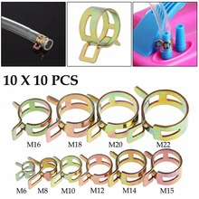 New 100Pcs 6-22mm Spring Clip Fuel Line Hose Water Pipe Air Tube Clamps Fastener #G205M# Best Quality