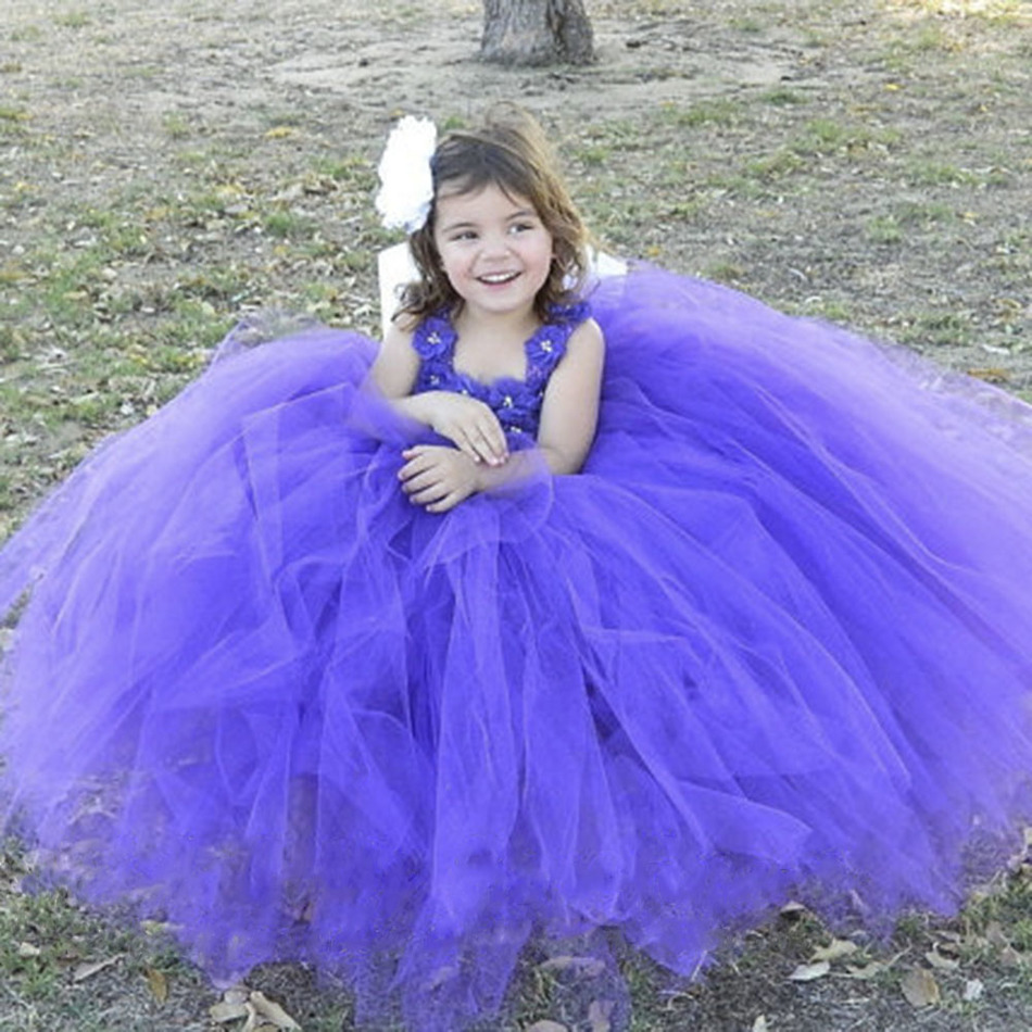 Purple Girls Princess Dress Flowers Tulle Tutu Dress Kids Pageant Wedding Party Birthday Festival Performance Dresses Vestidos<br>