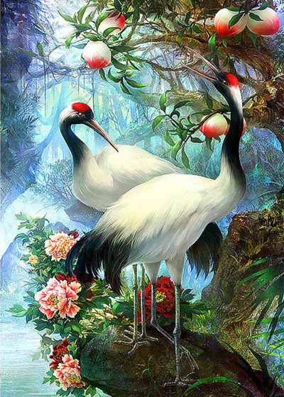 Full Diamond Embroidery Red-crowned crane peony Diy Diamond Painting Cross Stitch Round Rhinestones Painting Hobby and Crafts