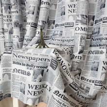 Newspapers Pattern Door Window Curtain Drape Panel Scarf Valances Classic Retro For the hotel coffee shop Living Room 2017 New