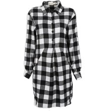 Autumn Spring Plaid Shirt Dress Leisure Vintage Long Plaid Check Print Casual Shirt Dress Mini Plus Size Party Dresses