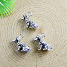 GraceAngie 20PCS Alloy Antique Silver Pendant Cute Mini 13*10mm Dog Charms Jewelry Accessory Crafts Handmade 51149(China)
