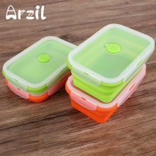 Food Container Storage Boxes Lunch Box Foldable Collapsible Bento Picnic Silicone Outdoor Portable Lunchbox Bowl 750ML(China)