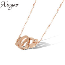 XINYAO 2017 Fashion Zircon Handcuffs Pendants Necklaces For Women Rose Gold Color Stainless Steel Chain Necklace Collares F8322