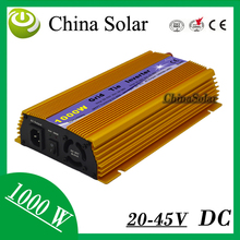 Gold Color 1KW Micro On Grid Pure Sine Wave Solar Power Inverters 20-45V 230V for Solar Energy System(China)