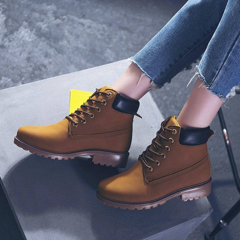 Szyadeou Women Ladies Round Toe Lace-up Faux Boots Ankle Casual Martin Shoes botas mujer invierno kozaki damskie schoenen 30 27