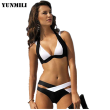 Full of design feeling the latest unique trends hit color bikini Black and white collocation bathing suit Comfortable swimsuit