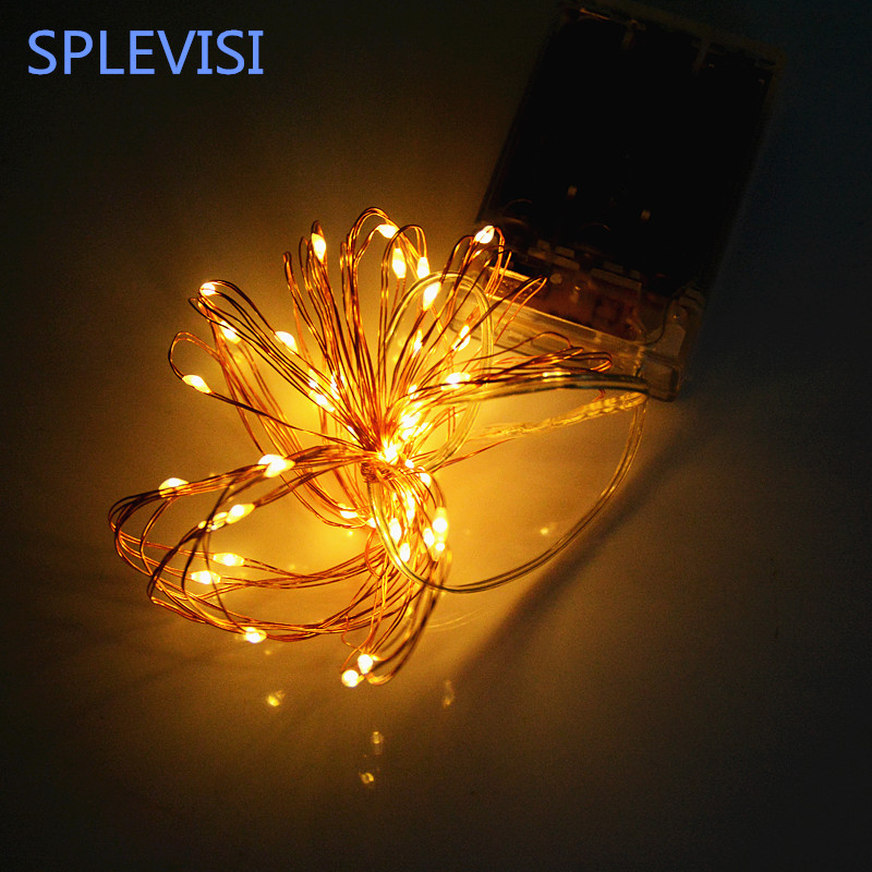 SPLEVISI 16.4ft 5M 50 led battery led string light 3AA Battery Operated Copper String Fairy Light For Party Wedding Christmas(China)