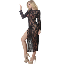 Buy plus size sexy lingerie women erotic costumes long dress transparent teddy lingerie hot sexy underwear sleepwear porn baby doll