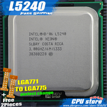 Intel Xeon L5240 3.0GHz/6M/1333 Processor close to LGA771 Core 2 Dual E8400 8500 86 CPU works on LGA 775 mainboard 2 Pieces Free(China)