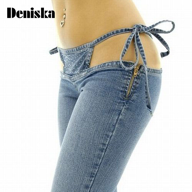 Sexy jeans pants for night club woman 2017 new arrival hollow out Drawstring low waist T-back denim thong pants with rhinestonesÎäåæäà è àêñåññóàðû<br><br>