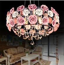 LED 21W-30W European Contracted Sitting Room Bedroom Sweet Flower Restaurant Flowers Crystal Droplight 220-240V  @-9