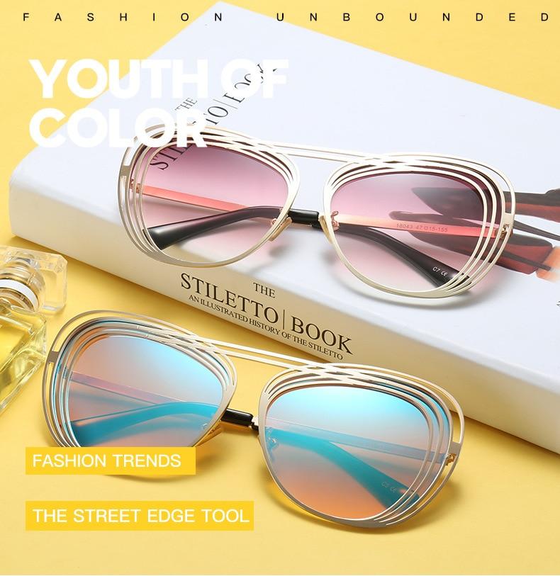 XIESIQING Designer Fashion Inlaid LvKong Frame  Cat Eye Sunglasses Lady Metal Frame Sunglasses Light  to change color
