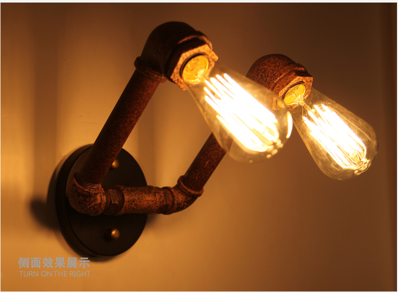 American Country Industrial Style Wall Lights RH Loft 2 Heads Water Pipe Wall Sconce Vintage Bronze Wall Lamp Iron Art Lustre<br><br>Aliexpress