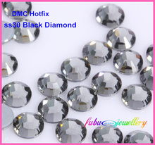 Free Shipping! 288pcs/Lot, ss30 (6.3-6.5mm) High Quality DMC Black Diamond Iron On Rhinestones / Hot fix Rhinestones