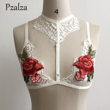 Pzalza High Neck Lace Bralette Top Embroidery Floral Deep Plunge Bra Women Sexy Thin Bralette Bra Lingerie Lace Bra Top