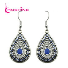Kayshine Vintage Style Blue Color Created Rhinestone Drop Earrings Retro Earring For Elegant Women