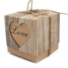 50pcs Candy Box Wedding Hearts in Love Rustic Kraft Imitation Bark  with Burlap Twine Chic Vintage Wedding Favor Gift Boxes