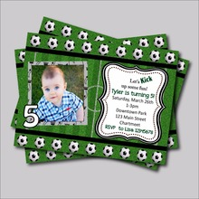 20pcs personalized Football Birthday Invitations Baby Shower Invites party decoration supplier Nursery Baby Sprinkle table decor