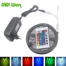 RiRi won led Light 10M 5M RGB LED Strip NonWaterproof SMD 2835 Fiexible Led Stripe Tape,5M/Roll DC 12V, With Controller+Adapter(China)