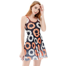 2017 China  Summer Sleeveless Tight Dresses Lovely The Circle Of Printing Digital Print Short Tennis  Dress Beach  For Women