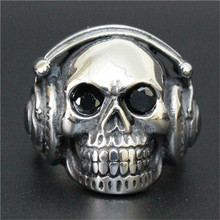 1 pc Fashion Jewelry Crystal Eyes Skull Ring 316L Stainless Steel Men Silver Boys Cool Earphone Skull Ring(China)