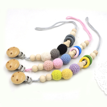 2017 NEW 3 designs to choose brand new GIFT BOX pastel baby pacifier clips soothie dummy holder CROCHET wooden BEADS NT215(China)